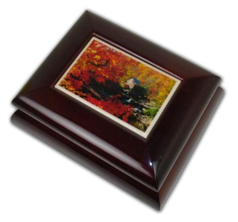 Spectacular Fall Mill Wooden Tile Music Jewelry Box (Dance of the Sugar Plum Fairy (Nutcracker Suite))