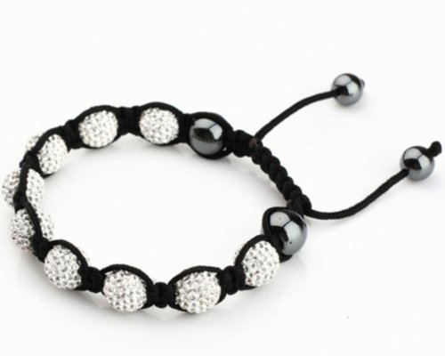 Sleek Gadgets - Threaded Silver Shamballa Bracelet with 9 Diamond Sparkling Crystal Ball and Magnetic Mechanism