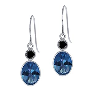 3.44 Ct Oval Sapphire Blue Mystic Topaz Black Diamond 14K White Gold Earrings