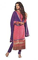 DIVISHA FASHIONS PINK AND PURPLE FAUX GEORGETTE DRESS MATERIAL WITH DUPATTA