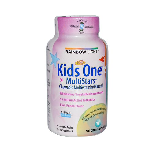 Rainbow Light Kids' One Multistars Fruit Punch 90 Chewable Tablets front-953143