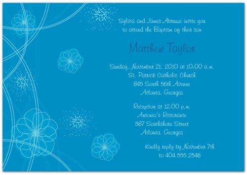 Flower Bursts Blue Baptism Invitations - Set Of 20 front-1025557