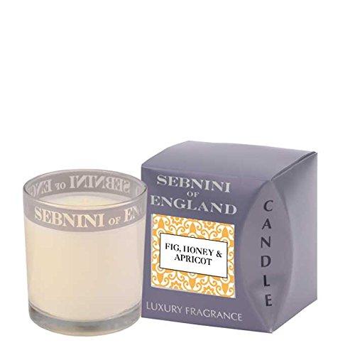 Sebnini Figue miel et de cire d'abricot Bougie d'intérieur en verre Parfumée Blanc
