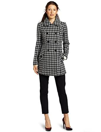 Jessica Simpson Women's Houndstooth Pea Coat, Black/White Houndstooth, Small