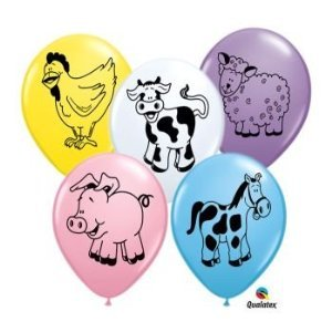 Farm Animal Barnyard Pig Cow Sheep Horse Birthday Party 11' Balloon Latex (25)