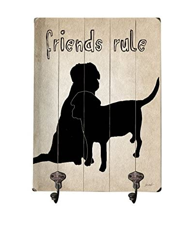 Artehouse Friends Rule Leash Hanger, Beige/Black