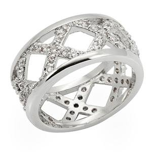 ETERNITY RING - Criss Cross Filigree Round Cut Pave Style CZ Ring