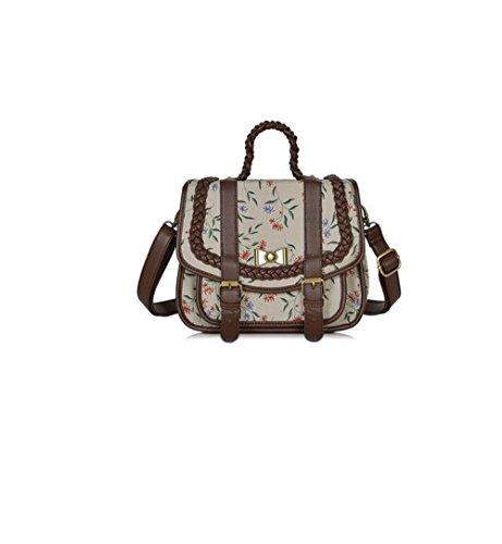 Messenger bag female small fresh Sen female British retro handbag shoulder bag student (Forest Green Flowers)