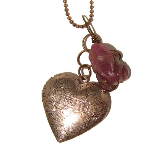 Ruby Necklace 02 Chain Red Frog Truth Dare Heart Locket Copper Gemstone Crystal Healing Animal 32