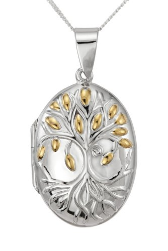 Sterling Silver Gold Plated Famliy Tree Design Oval Locket 46cm Chain