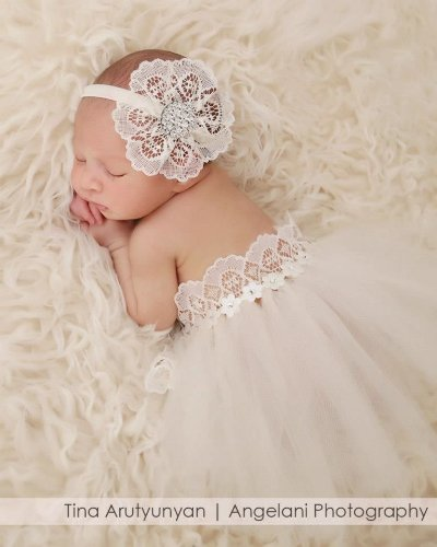 Lace Headband With Matching Tutu (Set) For Babies First Pictures, Photo Prop (Newborn, Ivory) front-886694