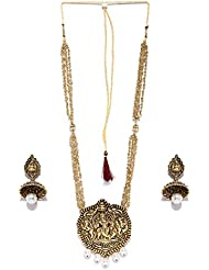 Zaveri Pearls Traditional Temple Long Designer Necklace Set-ZPFK4352
