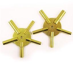SE - Clock Winding Keys - 4 Way, Brass, Odd / Even Number, 2 Pc - JT6336-2