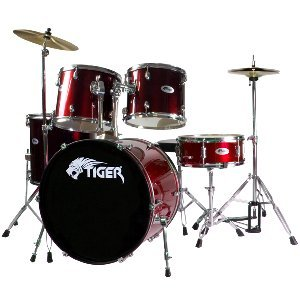 Tiger Full Size Beginner Drum Kit - Red