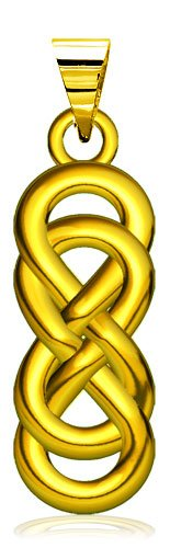 Large Thick Double Infinity Symbol Charm, Best Friends Forever Charm, Sisters Charm, 9Mmx24Mm In 18K Yellow Gold