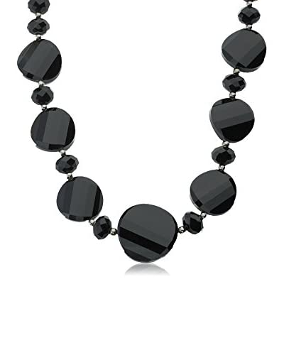 Riccova Avant-Garde Black Faceted Glass Necklace