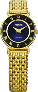 Jowissa Women's J2.042.S Roma 24 mm Gold PVD Blue Dial Roman Numeral Steel Watch