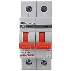 Anchor 98055 2 Pole UNO Series Isolator, 40 Amp, White