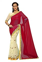 Anvi Cream and red faux georgette designer saree with unstitched blouse (1456)