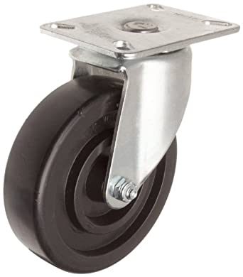 E.R. Wagner Plate Caster, Swivel, Polyolefin Wheel