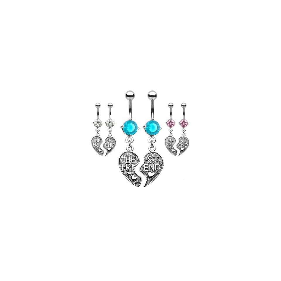 Pair of Best Friend heart charm pendant belly rings, clear