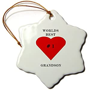 3dRose orn_60717_1 The Worlds Best Grandson Snowflake Porcelain Ornament, 3-Inch