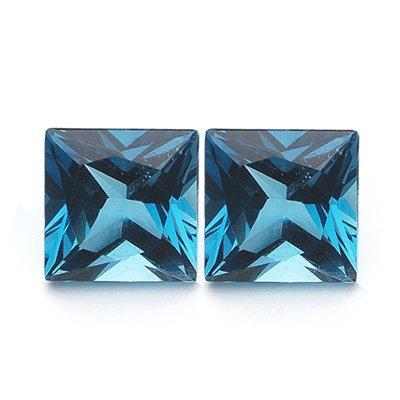 1.21 Cts of AAA 5 mm Princess Matching Loose London Blue Topaz ( 2 pcs set ) Gemstones