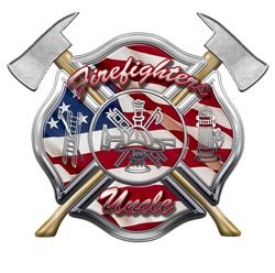 American Flag Maltese Cross Firefighters Uncle Decal - 16