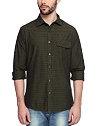 Slim Fit Casual Green Printed Shirt With Patch Pocket