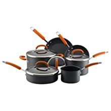 Rachael Ray 80655 10-Piece Hard-Anodized Cookware Set Orange