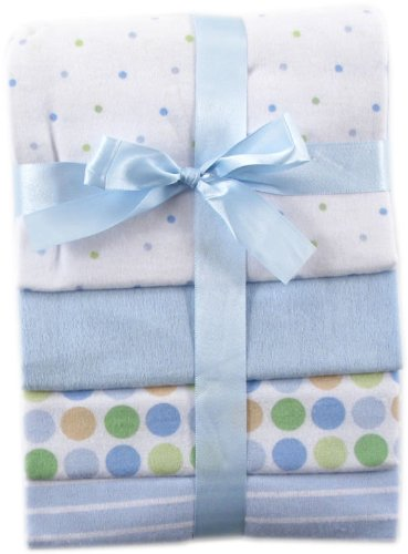 Luvable Friends 4-Pack Flannel Receiving Blankets, Blue