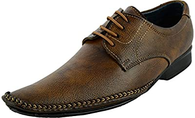 Lee Graim Men's Faux Leather Brown Shade Lace-Up Flats