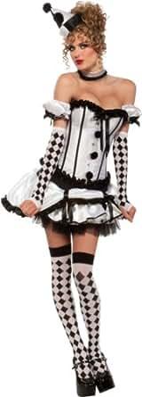 Secret Wishes Women's Deluxe Harlequin Corset Costume, Black/White, X-Small