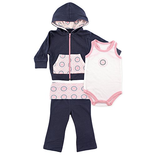 Yoga Sprout Baby Racerback Bodysuit Pant and Hoodie Set, Navy/Baby Pink Ornamental, 12-18 Months