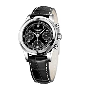 Longines Heritage 1942 Men's Automatic Watch with Black Dial Chronograph Display and Black Leather Strap L27684532