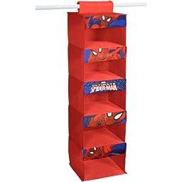 Marvel Spider Man Red Hanging Organizer with 5 Storage Shelves