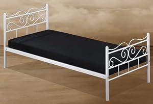 metallbett wei 90x200 cm inkl metall lattenrost. Black Bedroom Furniture Sets. Home Design Ideas