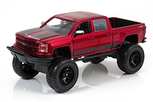 2014 Chevy Silverado Pickup - Candy Red with Black Details - Just Trucks Off Road Edition - 1:24 Scale - Jada Toys 97477 (Chevy Toy Trucks compare prices)