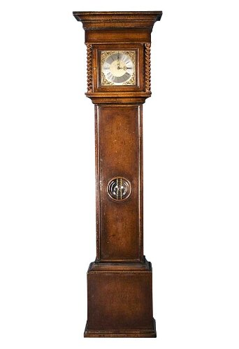 Burl Walnut Grandfather Clock with Brass Dial