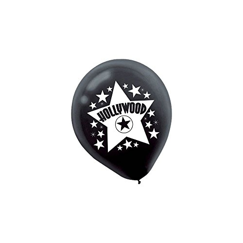 "Amscan Hollywood and White Printed Latex Balloons, 12"", Black"