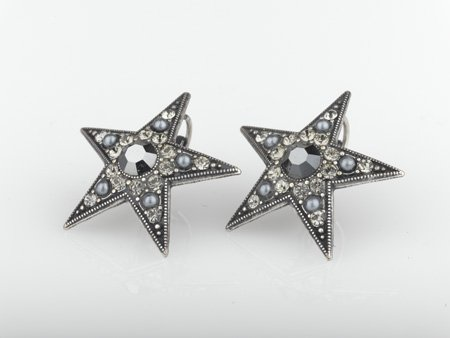 Amaro Jewelry Studio 'Release' Collection .925 Sterling Silver Plated Star Earrings Set with Hematite, Mother of Pearl and Swarovski Crystals
