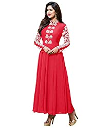 Fashion Fire Women's Pink Color Embroidered Georgette Unstitched Dress Material