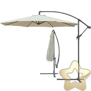 Ivory Parasol Cantilevered 3m Large Banana Garden Umbrella Hanging Aluminium