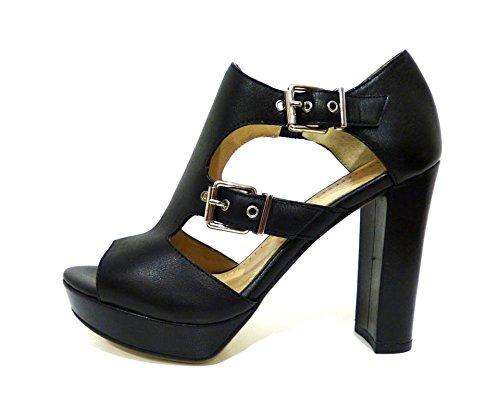 Bruno Premi F6003N sandali tronchetti estivi pelle neri con tacco alto e fibbie n° 37