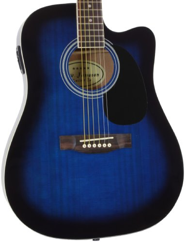 Blue Full Size Thinline Acoustic Electric Guitar with Free Gig Bag Case & Picks (Full Size Thinline Acoustic compare prices)