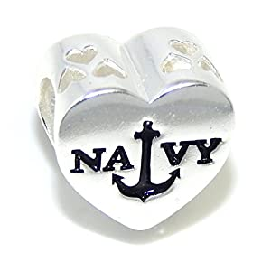 "Pro Jewelry .925 Sterling Silver ""Navy w/ American Flag"" Charm Bead 4799 from Pro Jewelry"