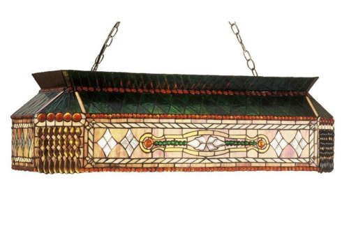 Meyda Tiffany 50159 Gold Fringe Collection 9-Light Oblong Pendant, Stained Glass Shade