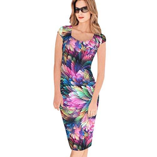 Lady Dress, Misaky Floral Pattern Business Casual Work Party Pencil Dress (XL, Multicolor)