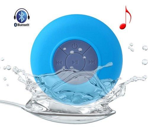 Mini Waterproof Wireless Bluetooth Speaker Shower Hands-Free Suction In-Car Mic(Blue)