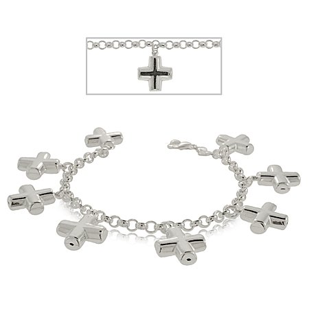 Christian Cross Bracelet in Sterling Silver - Charm